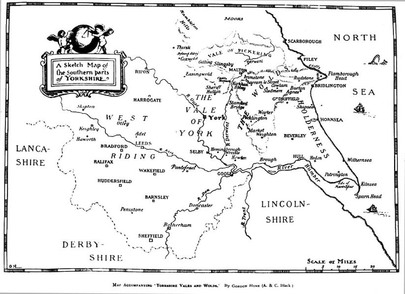 Yorkshire Vales and Wolds Painted and Described - A Sketch Map of the Southern Parts of Yorkshire (1908)