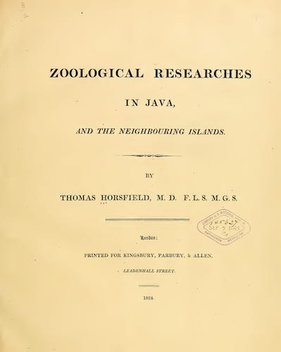 Zoological Researches in Java (1824)